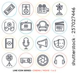 cinema and movie line icons set.... | Shutterstock .eps vector #257027446