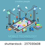 mobile technology operating... | Shutterstock .eps vector #257030608