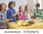 funny time during the painting... | Shutterstock . vector #257034676