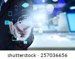 double exposure of businessman... | Shutterstock . vector #257036656