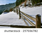 Winter Landscape With Wooden...