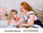 beautiful family together at... | Shutterstock . vector #257055505