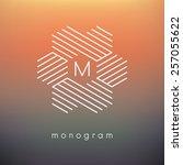 vector geometric monogram.... | Shutterstock .eps vector #257055622