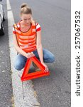 triangle warning sign with... | Shutterstock . vector #257067532