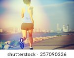 runner athlete running at... | Shutterstock . vector #257090326