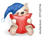 happy teddy bear hugging a... | Shutterstock .eps vector #257120746