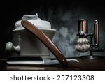 shaving razors and bowl with... | Shutterstock . vector #257123308
