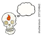 cartoon mystic skull with... | Shutterstock .eps vector #257124862