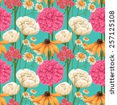 floral seamless patterns with... | Shutterstock .eps vector #257125108