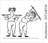 female exercising . keep fit... | Shutterstock .eps vector #257128726