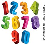 3d numbers set made with round... | Shutterstock .eps vector #257148352