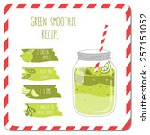 green smoothie recipe. used for ... | Shutterstock .eps vector #257151052