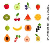 fruits and berries icons set... | Shutterstock .eps vector #257160382