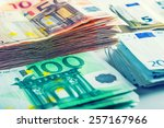 several hundred euro  banknotes ... | Shutterstock . vector #257167966