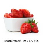 Strawberry In Bowl Isolated On...