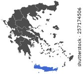 map of greece dark blue | Shutterstock .eps vector #257174506