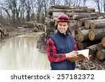 young lumber engineer standing... | Shutterstock . vector #257182372