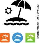 island with beach  umbrella ... | Shutterstock .eps vector #257195032