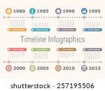 horizontal timeline... | Shutterstock .eps vector #257195506