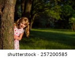 a small child playing in the... | Shutterstock . vector #257200585