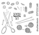 Set Of Sewing Items Monochrome...