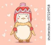 cute cartoon penguin in winter... | Shutterstock .eps vector #257224918