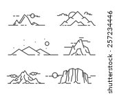 set of vector linear mountains. | Shutterstock .eps vector #257234446