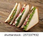 club sandwiches with tuna  ham...   Shutterstock . vector #257237932