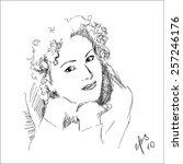 pencil sketch of woman   Shutterstock .eps vector #257246176