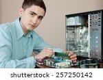 technician repairing computer... | Shutterstock . vector #257250142