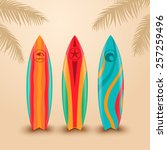 surf boards with different... | Shutterstock .eps vector #257259496