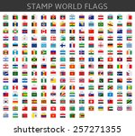 stamps world flags | Shutterstock .eps vector #257271355