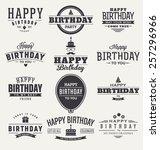 typographic happy birthday... | Shutterstock .eps vector #257296966