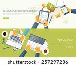 communication chatting.flat... | Shutterstock .eps vector #257297236