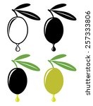 Single Olive With Leaf And Dro...