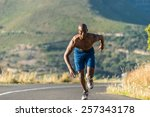 athletic  sporty  muscular ... | Shutterstock . vector #257343178