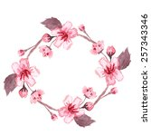 watercolor wreath of blossom... | Shutterstock .eps vector #257343346