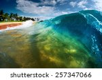 Blue Ocean Wave Breaking On Th...