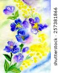 watercolor painting of flowers  | Shutterstock . vector #257381866