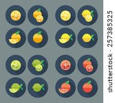 Fruit Flat Icons. Vector.