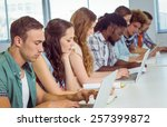 fashion students using laptop... | Shutterstock . vector #257399872
