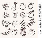 fruits icons set in flat style | Shutterstock .eps vector #257403982