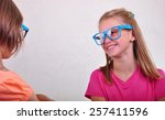 portrait of cute playful... | Shutterstock . vector #257411596