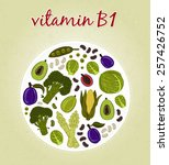 vitamin b1   fruits and... | Shutterstock .eps vector #257426752