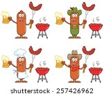 sausage cartoon mascot... | Shutterstock .eps vector #257426962