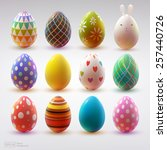 set of realistic eggs on white... | Shutterstock .eps vector #257440726