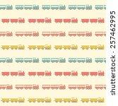 vintage beige train pattern   Shutterstock .eps vector #257462995