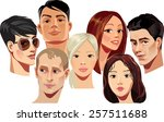 vector portraits of faces of... | Shutterstock .eps vector #257511688