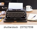 black vintage typewriter with... | Shutterstock . vector #257527558