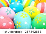 colorful handmade easter eggs... | Shutterstock . vector #257542858